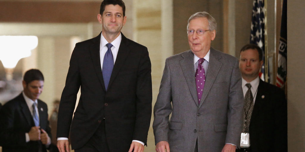 WASHINGTON, DC - NOVEMBER 03:  Speaker of the House Paul Ryan (R-WI (L) and Senate Majority Leader Mitch McConnell (R-KY) walk together to a Senate GOP policy luncheon in the U.S. Capitol November 3, 2015 in Washington, DC. Ryan briefly addressed Republican senators less than a week before he was elected Speaker.  (Photo by Chip Somodevilla/Getty Images)